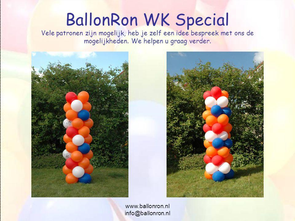 www.ballonron.nl info@ballonron.nl BallonRon WK Special Vele patronen zijn mogelijk, heb je zelf een idee bespreek met ons de mogelijkheden. We helpen