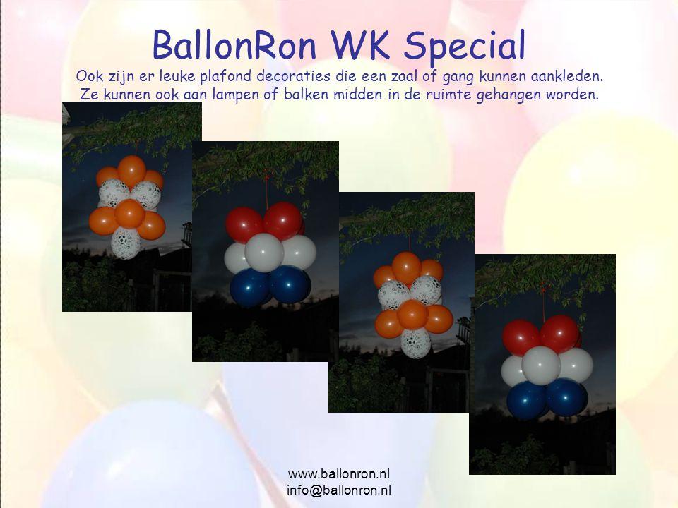 www.ballonron.nl info@ballonron.nl BallonRon WK Special Ook zijn er leuke plafond decoraties die een zaal of gang kunnen aankleden. Ze kunnen ook aan