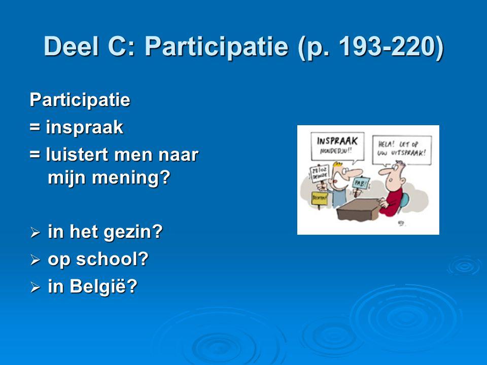 Deel C: Participatie (p. 193-220) Participatie = inspraak = luistert men naar mijn mening.