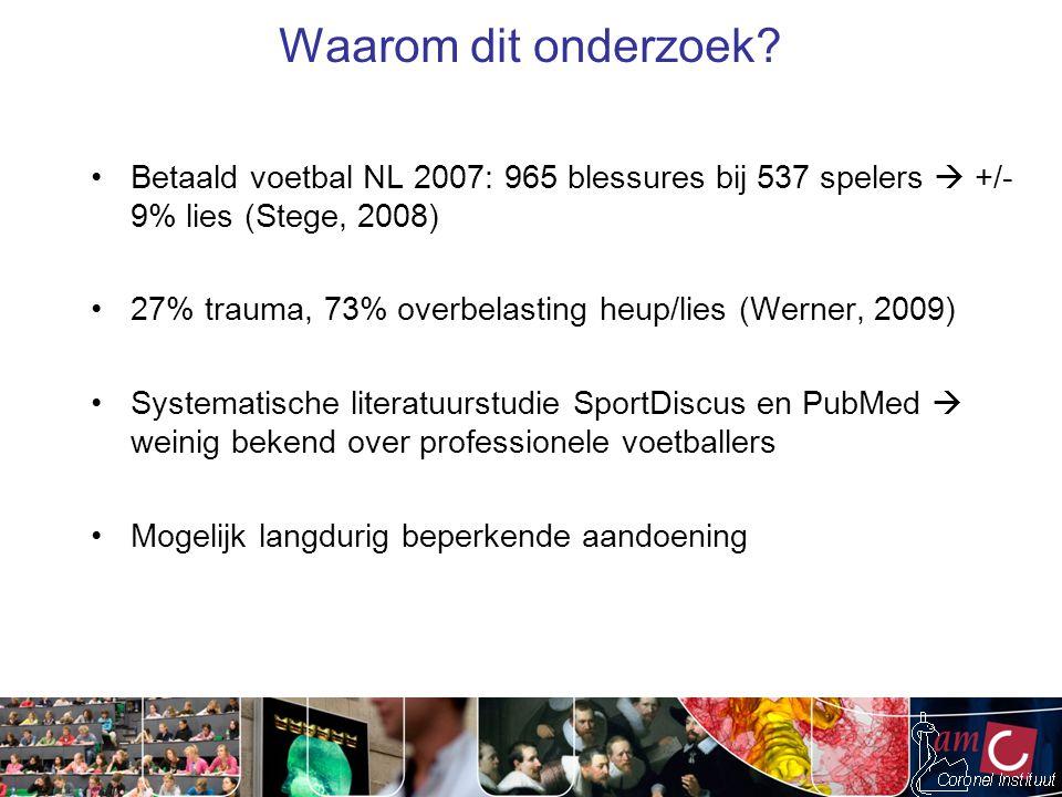 Waarom dit onderzoek? Betaald voetbal NL 2007: 965 blessures bij 537 spelers  +/- 9% lies (Stege, 2008) 27% trauma, 73% overbelasting heup/lies (Wern