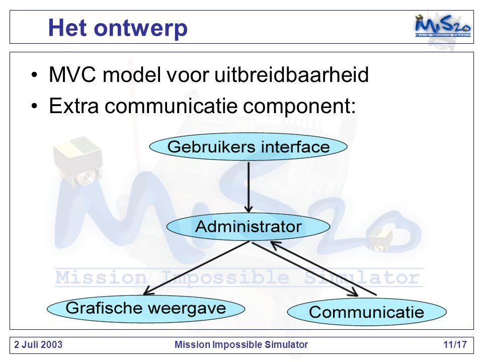 2 Juli 2003Mission Impossible Simulator11/17 Het ontwerp MVC model voor uitbreidbaarheid Extra communicatie component: