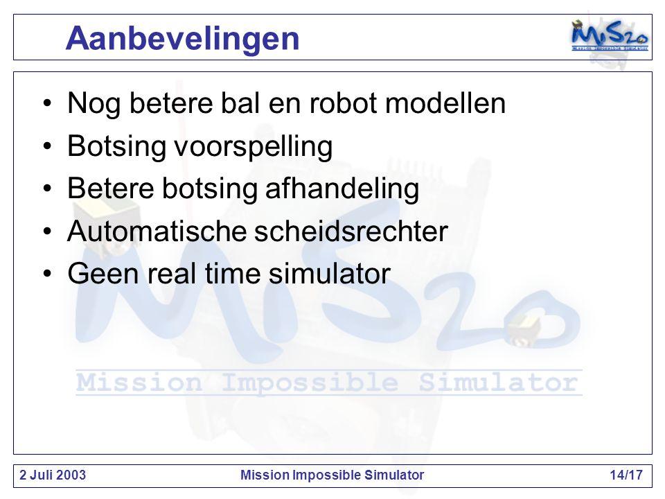 2 Juli 2003Mission Impossible Simulator14/17 Aanbevelingen Nog betere bal en robot modellen Botsing voorspelling Betere botsing afhandeling Automatische scheidsrechter Geen real time simulator