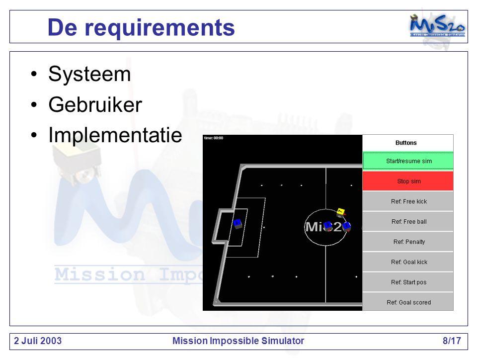 2 Juli 2003Mission Impossible Simulator9/17 Het ontwerp Bestaande Mi20 systeem: