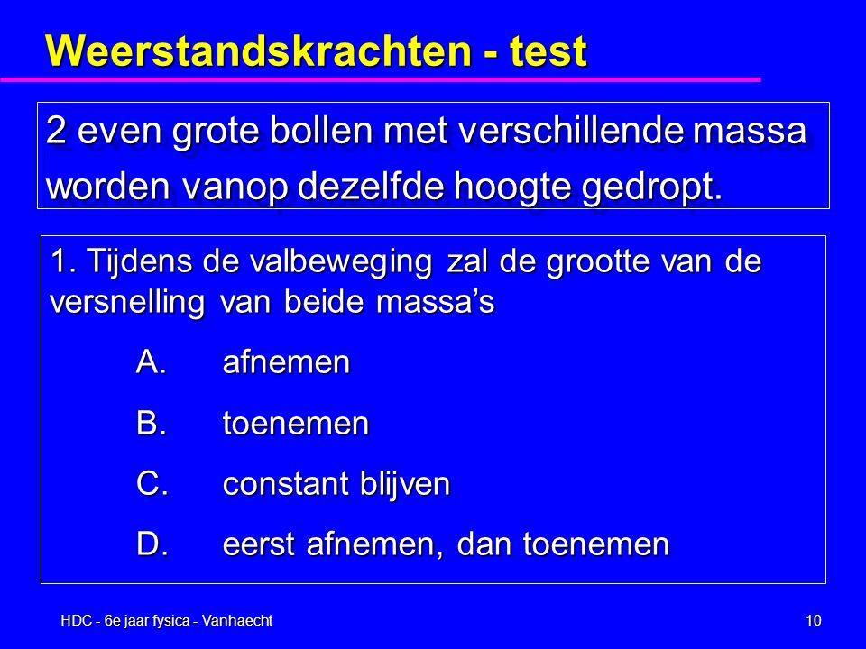 HDC - 6e jaar fysica - Vanhaecht9 Weerstandskrachten - test JUIST3 FOUT-1 BLANCO0
