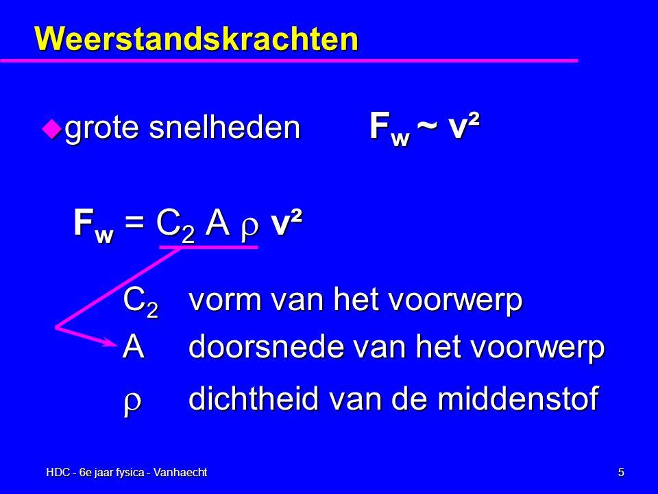 HDC - 6e jaar fysica - Vanhaecht4 Weerstandskrachten u kleine snelheden F w ~ v F w = C 1 v vooral toepasbaar op kleine massa's zoals regendruppels,...
