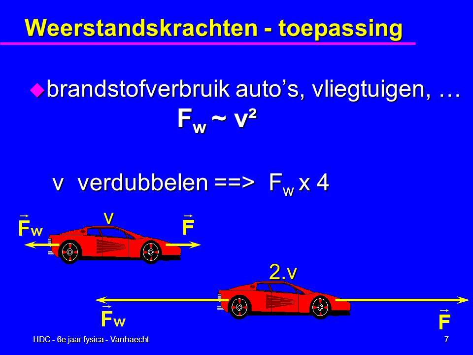HDC - 6e jaar fysica - Vanhaecht6 Weerstandskrachten u grote snelheden F w ~ v² F w = C 2 A  v² vooral toepasbaar op grotere massa's zoals vliegtuigen, valschermspringers, voetbal,...