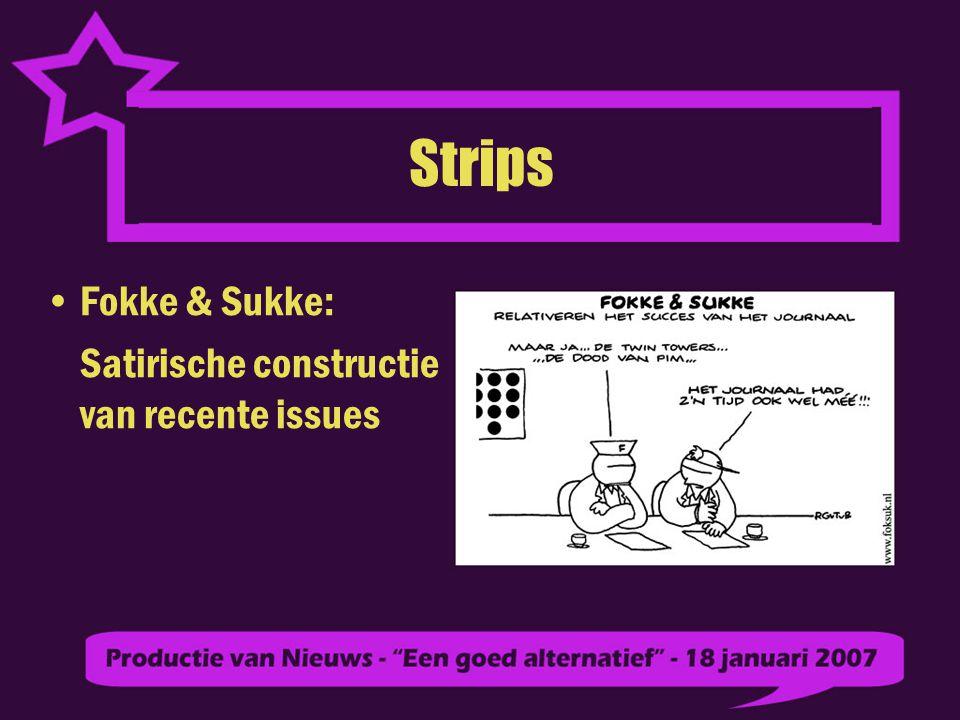 Strips Fokke & Sukke: Satirische constructie van recente issues