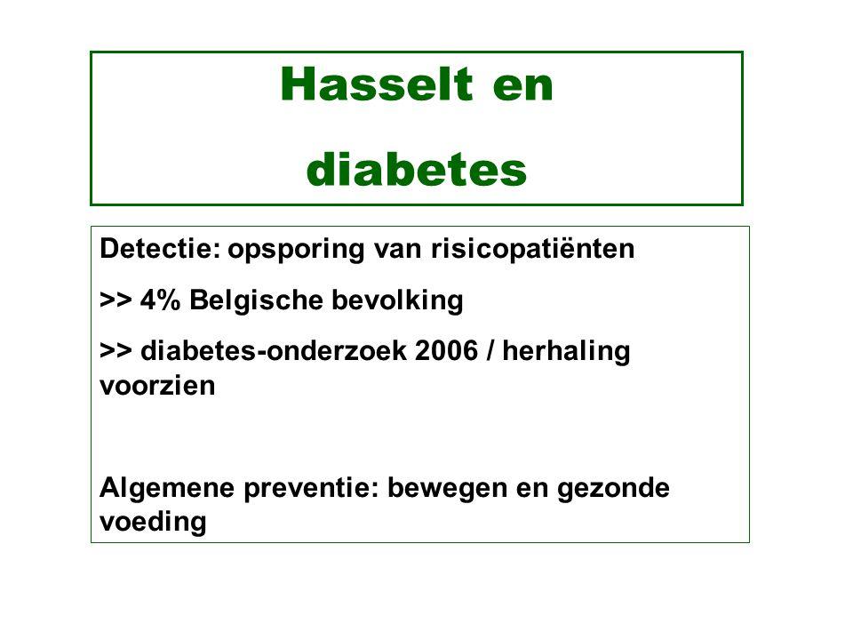 Hasselt en diabetes Detectie: opsporing van risicopatiënten >> 4% Belgische bevolking >> diabetes-onderzoek 2006 / herhaling voorzien Algemene preventie: bewegen en gezonde voeding