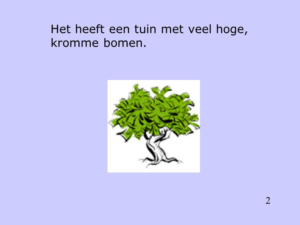 Het heeft een tuin met veel hoge, kromme bomen. 2