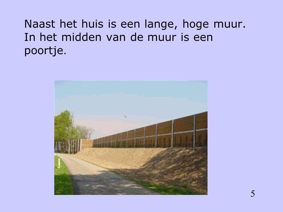 Naast het huis is een lange, hoge muur. In het midden van de muur is een poortje. 5