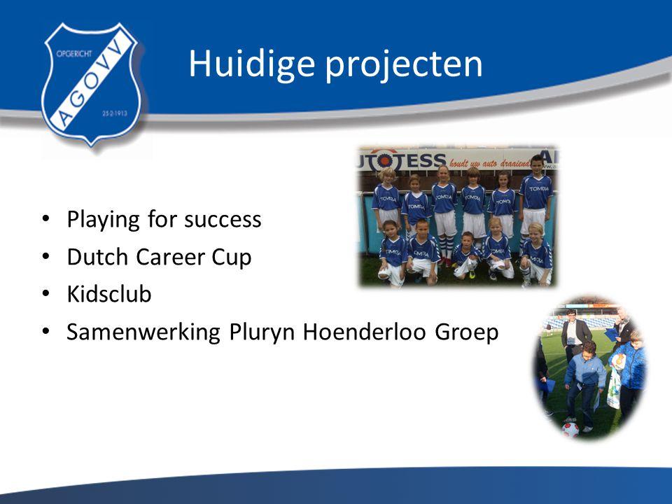 Huidige projecten Playing for success Dutch Career Cup Kidsclub Samenwerking Pluryn Hoenderloo Groep