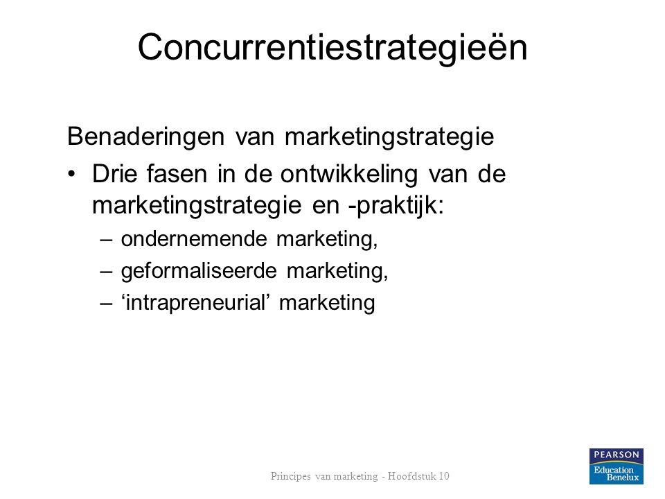 Concurrentiestrategieën Benaderingen van marketingstrategie Drie fasen in de ontwikkeling van de marketingstrategie en -praktijk: –ondernemende marketing, –geformaliseerde marketing, –'intrapreneurial' marketing Principes van marketing - Hoofdstuk 10