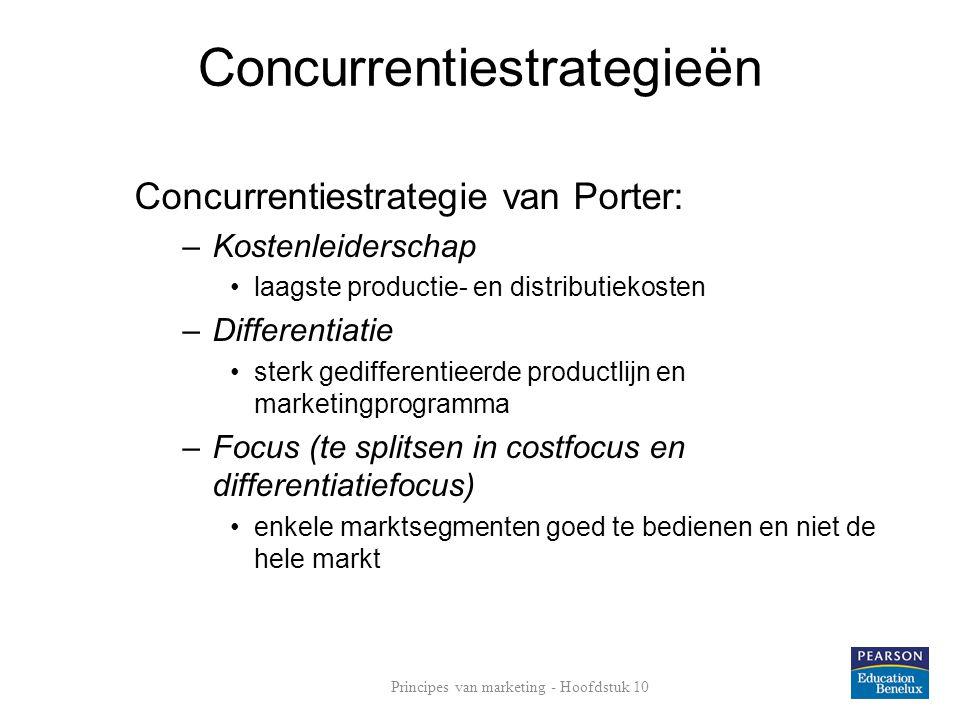 Concurrentiestrategieën Concurrentiestrategie van Porter: –Kostenleiderschap laagste productie- en distributiekosten –Differentiatie sterk gedifferentieerde productlijn en marketingprogramma –Focus (te splitsen in costfocus en differentiatiefocus) enkele marktsegmenten goed te bedienen en niet de hele markt Principes van marketing - Hoofdstuk 10