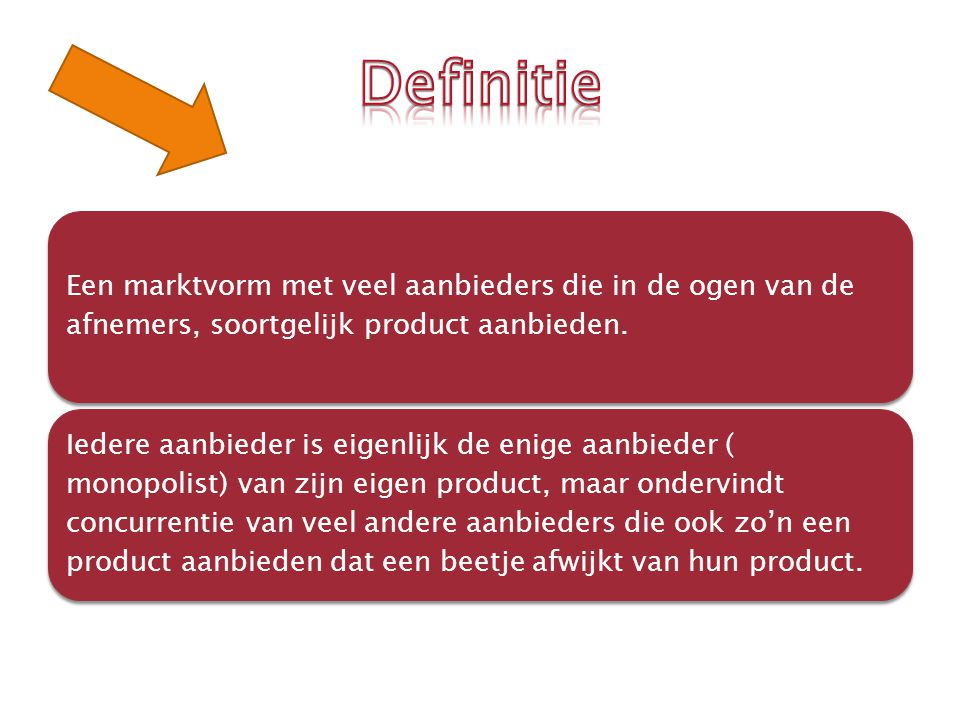 Er zijn veel aanbieders (deelmarkten) Het aantal van de vragers zijn veel Het aard van het product is heterogeen Vrije toetreding