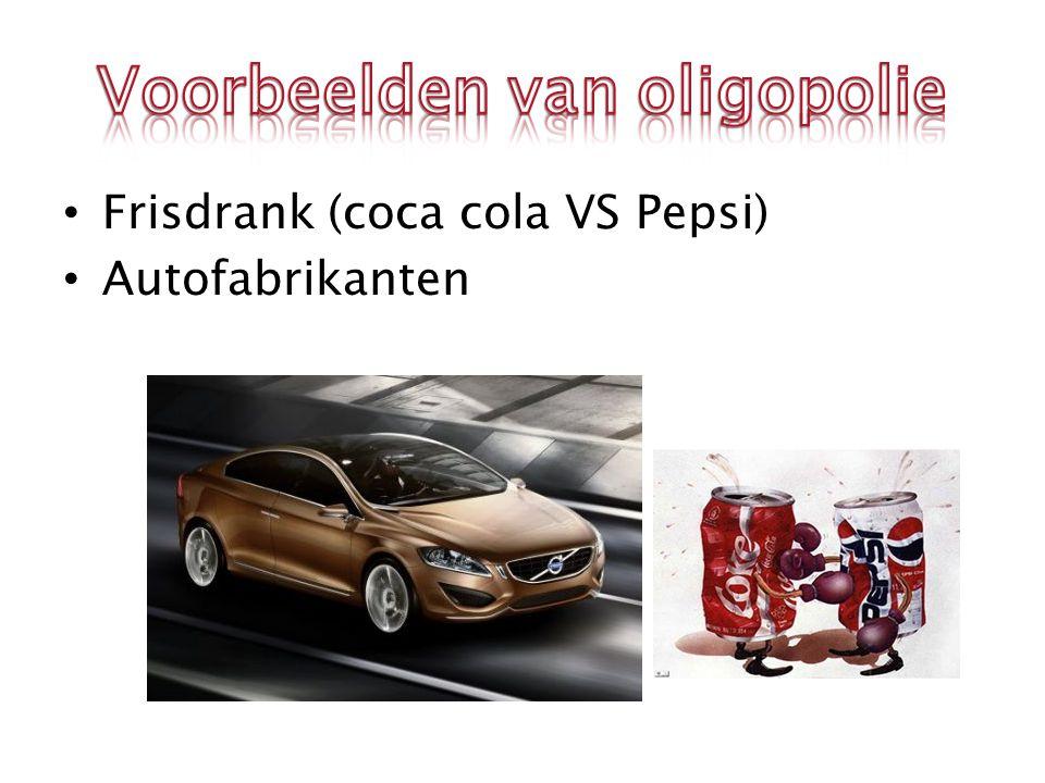 Frisdrank (coca cola VS Pepsi) Autofabrikanten