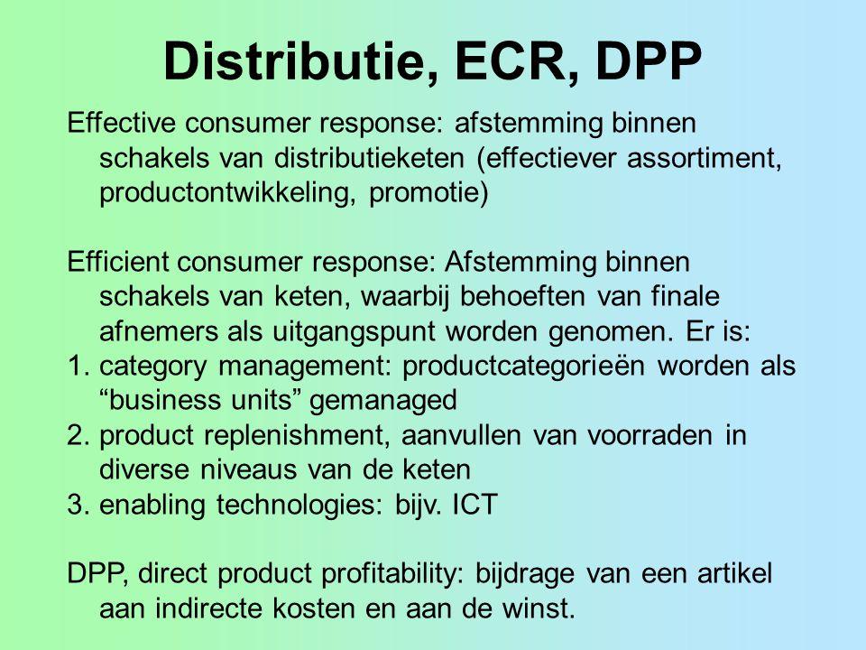 Distributie, ECR, DPP Effective consumer response: afstemming binnen schakels van distributieketen (effectiever assortiment, productontwikkeling, prom