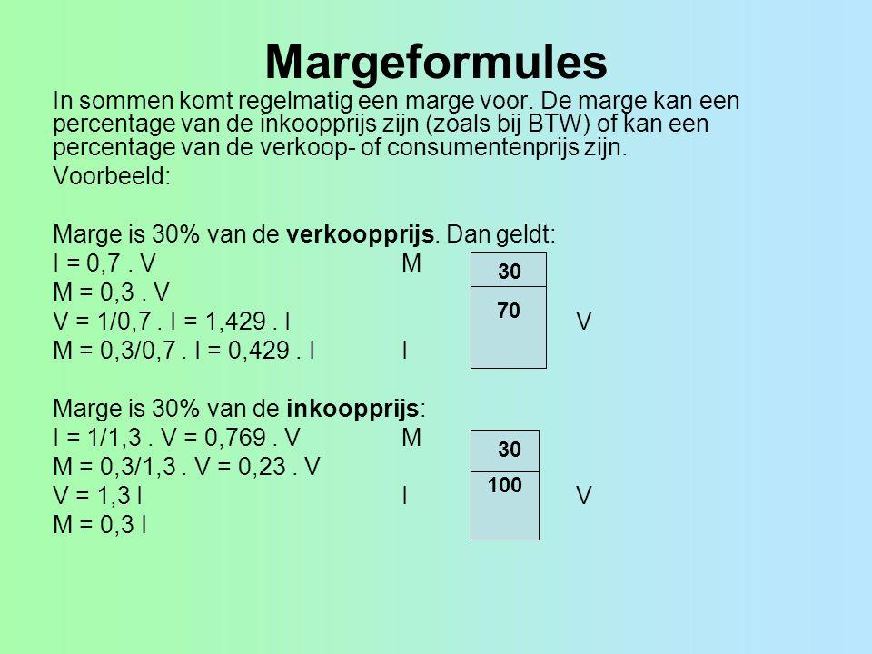 Margeformules In sommen komt regelmatig een marge voor. De marge kan een percentage van de inkoopprijs zijn (zoals bij BTW) of kan een percentage van