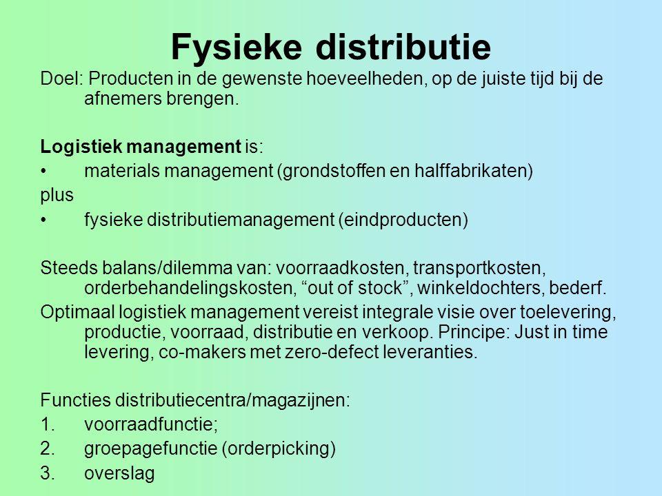 Fysieke distributie Doel: Producten in de gewenste hoeveelheden, op de juiste tijd bij de afnemers brengen. Logistiek management is: materials managem