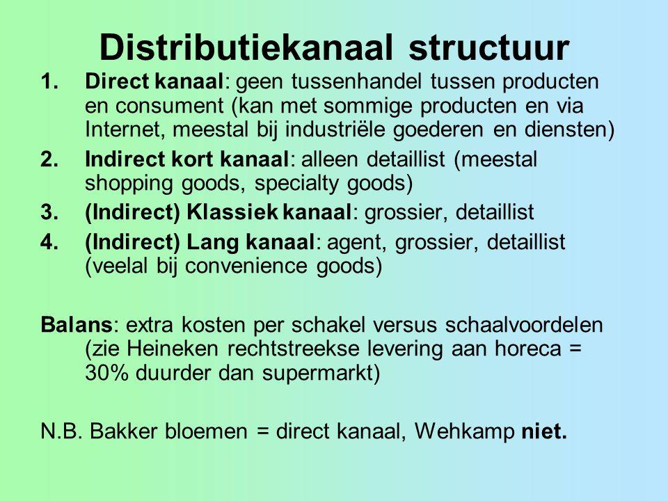 Distributiekanaal structuur 1.Direct kanaal: geen tussenhandel tussen producten en consument (kan met sommige producten en via Internet, meestal bij i