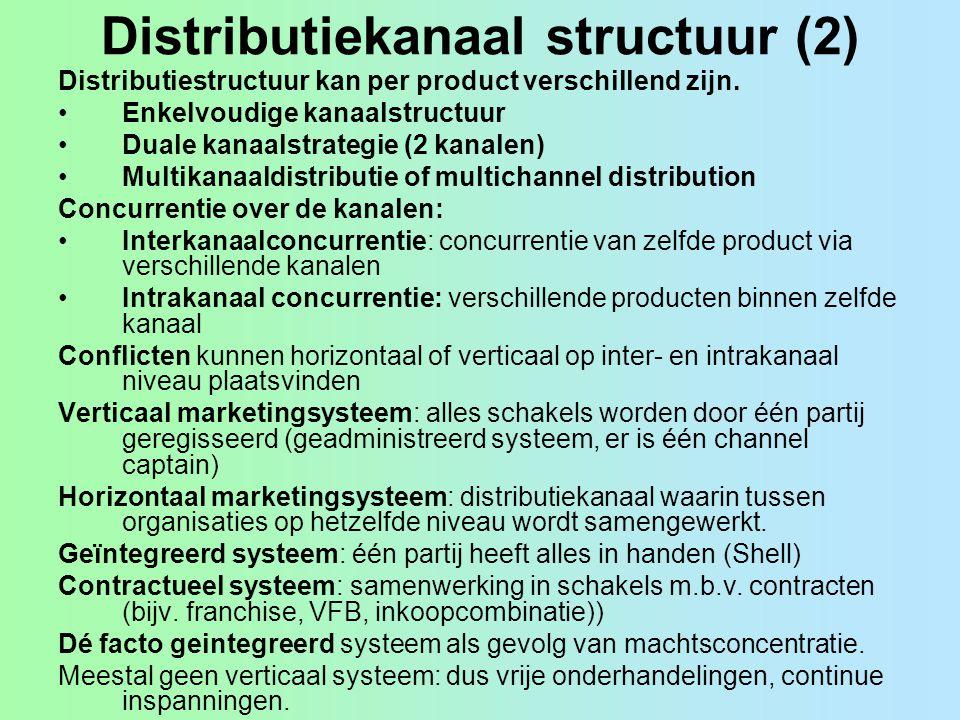 Distributiekanaal structuur (2) Distributiestructuur kan per product verschillend zijn. Enkelvoudige kanaalstructuur Duale kanaalstrategie (2 kanalen)