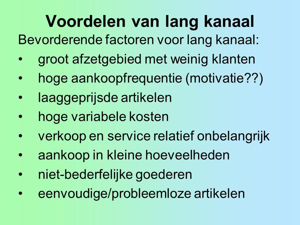 Voordelen van lang kanaal Bevorderende factoren voor lang kanaal: groot afzetgebied met weinig klanten hoge aankoopfrequentie (motivatie??) laaggeprij