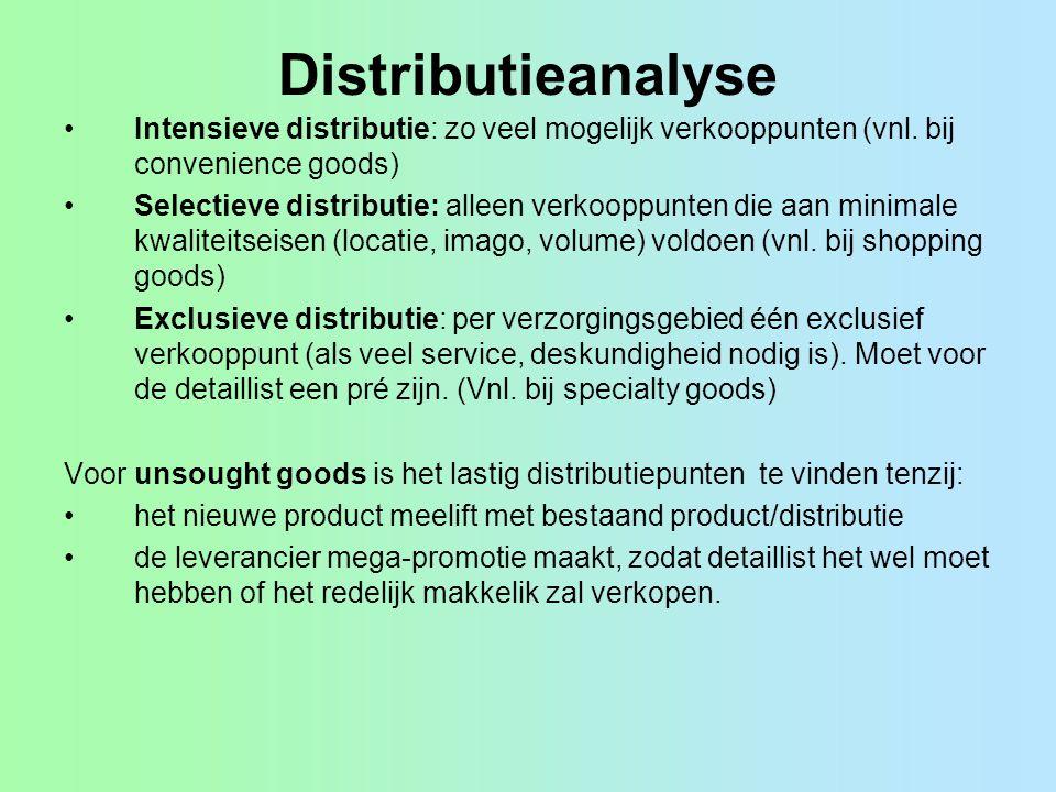 Distributiekengetallen Distributiespreiding, numerieke distributie, ongewogen distributie, distributie-intensiteit, distributiegraad, afzetspreiding, ongewogen distributiespreiding = #wederverkopers artikel (#WA) #wederverkopers productklasse (#WP) (# betekent aantal) Marktbereik, gewogen distributie, effectieve distributie = omzet productklasse bij ingeschakelde wederverkopers (OW) omzet productklasse alle wederverkopers (totale primaire vraag) (OT) Grootte- of selectie-indicator (ook wel: relatief marktbereik) = gem.