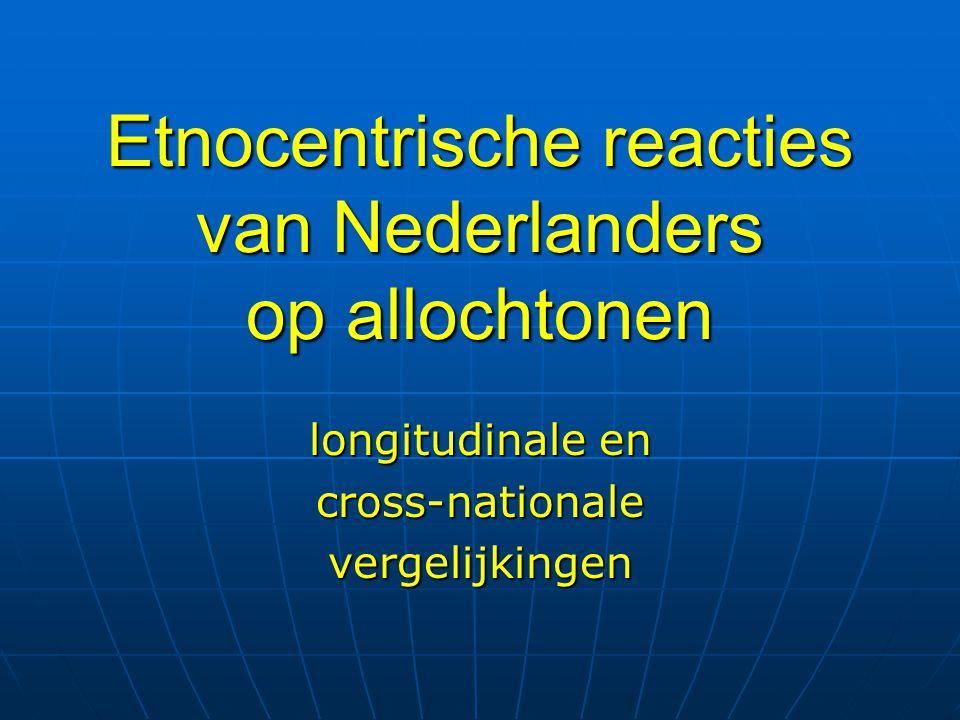 Etnocentrische reacties Nederland 2002-2003 European Social Survey Percentage instemming Weerstand tegen immigranten 43,0 Weerstand tegen asielzoekers 36,5 Weerstand tegen multiculti samenleving 30,8 Etnische distantie 17,7 Ervaren etnische dreiging 55,1