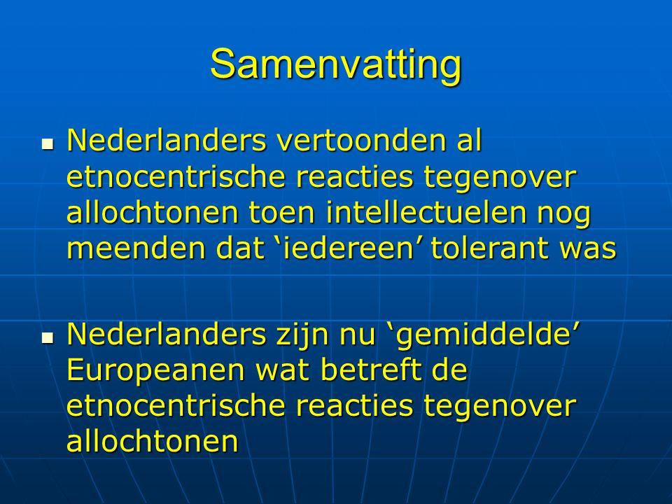 Samenvatting Nederlanders vertoonden al etnocentrische reacties tegenover allochtonen toen intellectuelen nog meenden dat 'iedereen' tolerant was Nede