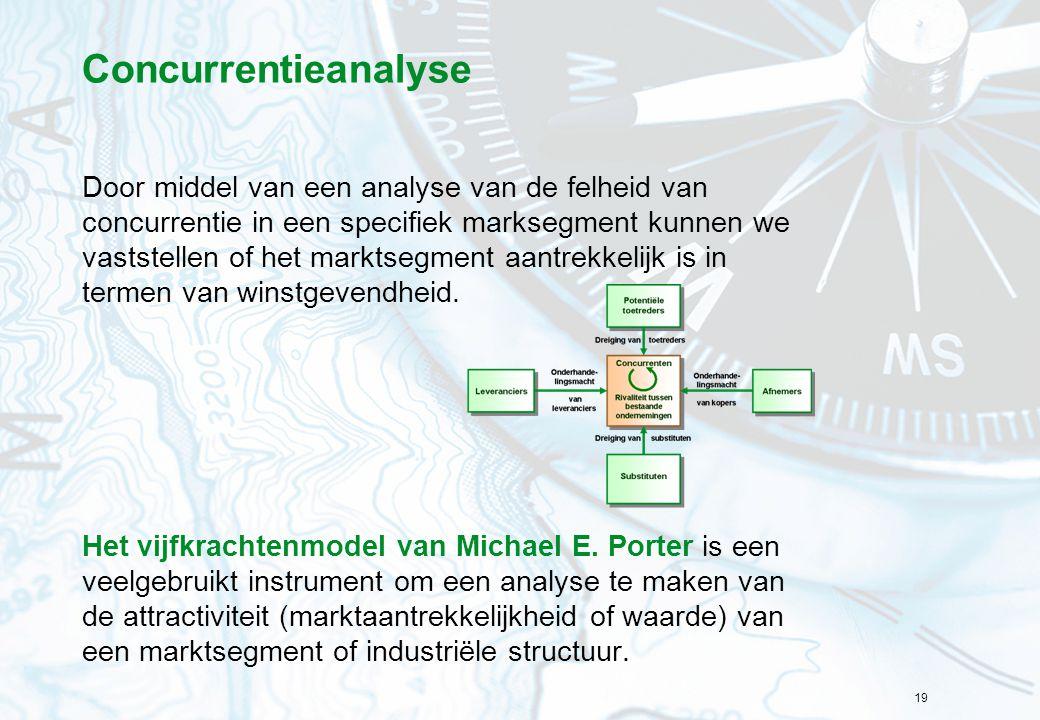 19 Concurrentieanalyse Door middel van een analyse van de felheid van concurrentie in een specifiek marksegment kunnen we vaststellen of het marktsegm