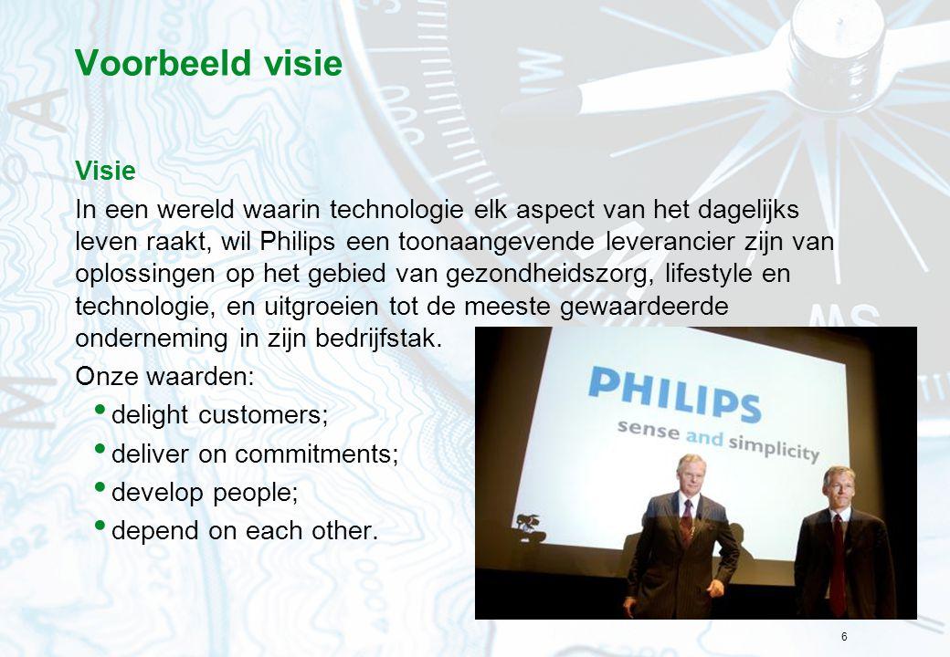 6 Voorbeeld visie Visie In een wereld waarin technologie elk aspect van het dagelijks leven raakt, wil Philips een toonaangevende leverancier zijn van