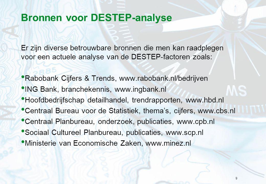 9 Bronnen voor DESTEP-analyse Er zijn diverse betrouwbare bronnen die men kan raadplegen voor een actuele analyse van de DESTEP-factoren zoals: Raboba