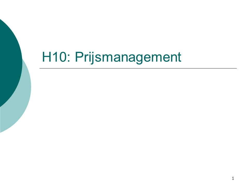 1 H10: Prijsmanagement