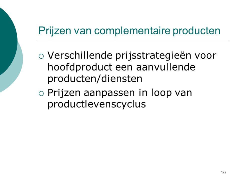 10 Prijzen van complementaire producten  Verschillende prijsstrategieën voor hoofdproduct een aanvullende producten/diensten  Prijzen aanpassen in l