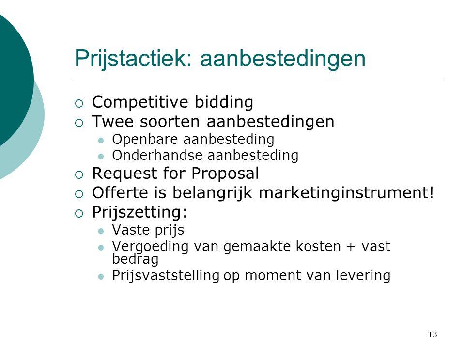 13 Prijstactiek: aanbestedingen  Competitive bidding  Twee soorten aanbestedingen Openbare aanbesteding Onderhandse aanbesteding  Request for Propo