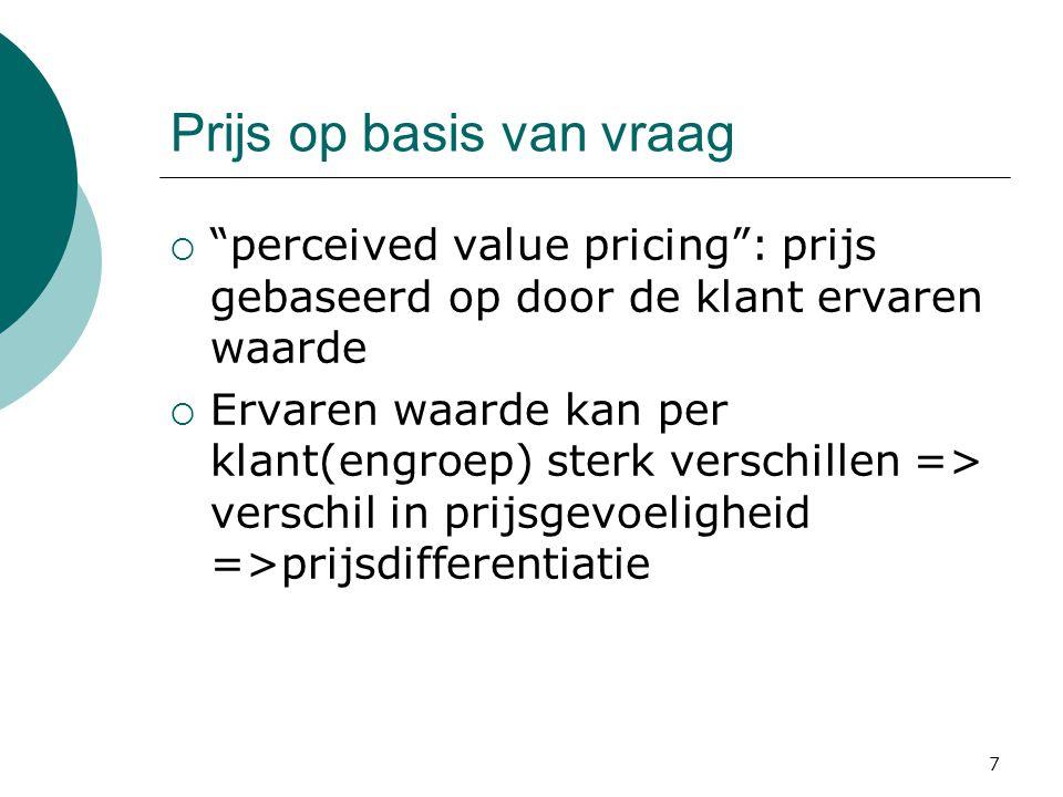 """7 Prijs op basis van vraag  """"perceived value pricing"""": prijs gebaseerd op door de klant ervaren waarde  Ervaren waarde kan per klant(engroep) sterk"""