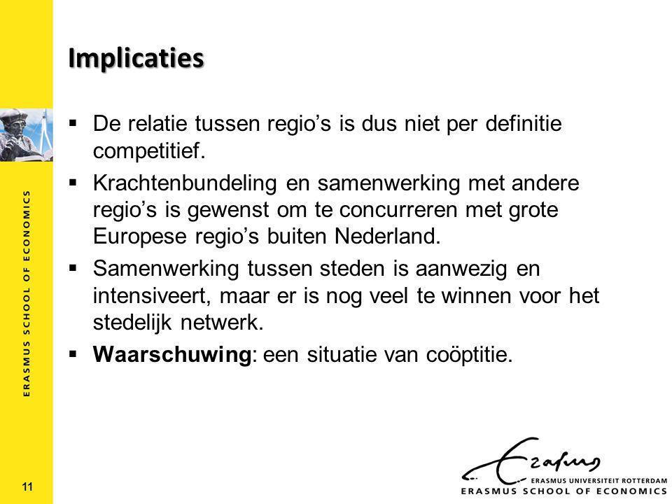 Implicaties  De relatie tussen regio's is dus niet per definitie competitief.