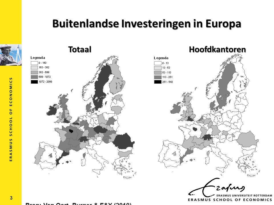 Buitenlandse Investeringen in Europa 3 TotaalHoofdkantoren Bron: Van Oort, Burger & E&Y (2010)