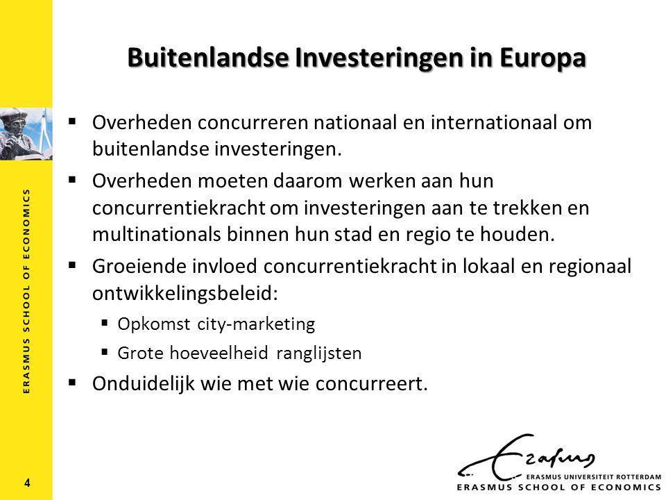 Buitenlandse Investeringen in Europa  Overheden concurreren nationaal en internationaal om buitenlandse investeringen.