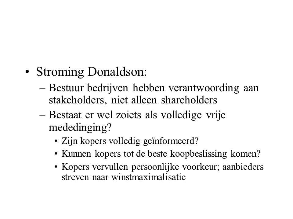 Stroming Donaldson: –Bestuur bedrijven hebben verantwoording aan stakeholders, niet alleen shareholders –Bestaat er wel zoiets als volledige vrije mededinging.