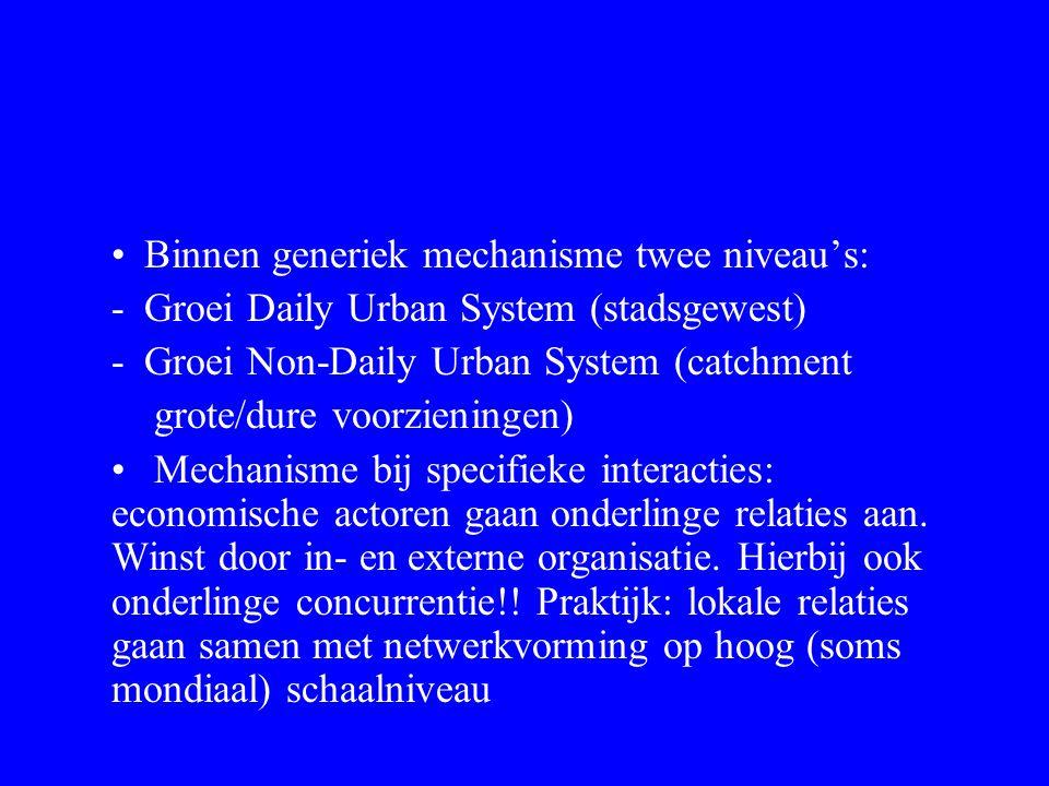 Binnen generiek mechanisme twee niveau's: -Groei Daily Urban System (stadsgewest) -Groei Non-Daily Urban System (catchment grote/dure voorzieningen) Mechanisme bij specifieke interacties: economische actoren gaan onderlinge relaties aan.