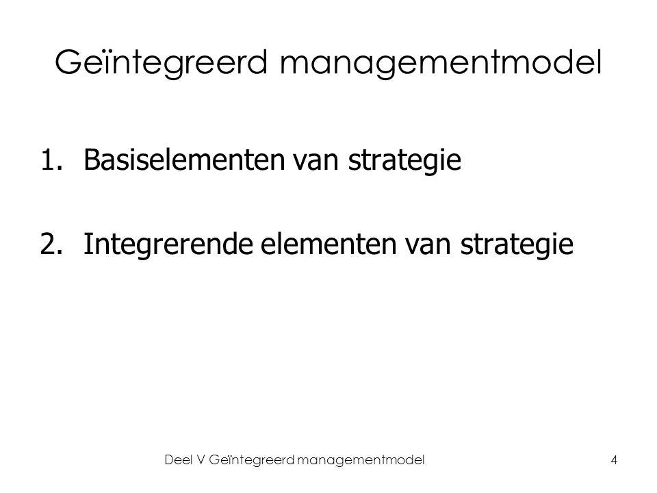 Deel V Geïntegreerd managementmodel4 Geïntegreerd managementmodel 1.Basiselementen van strategie 2.Integrerende elementen van strategie