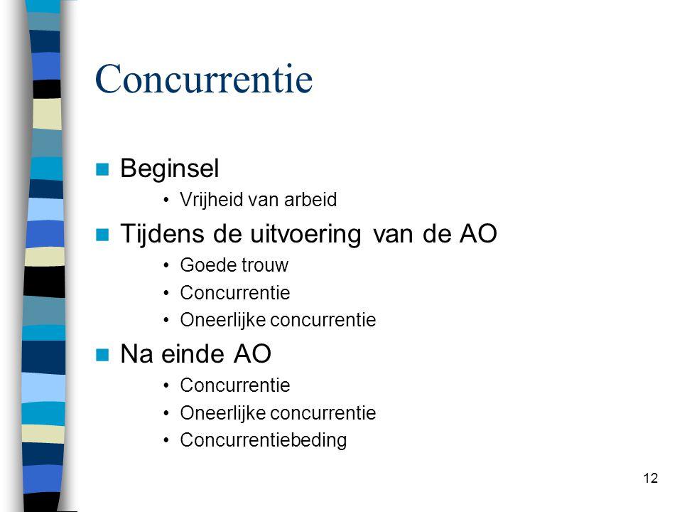 12 Concurrentie Beginsel Vrijheid van arbeid Tijdens de uitvoering van de AO Goede trouw Concurrentie Oneerlijke concurrentie Na einde AO Concurrentie