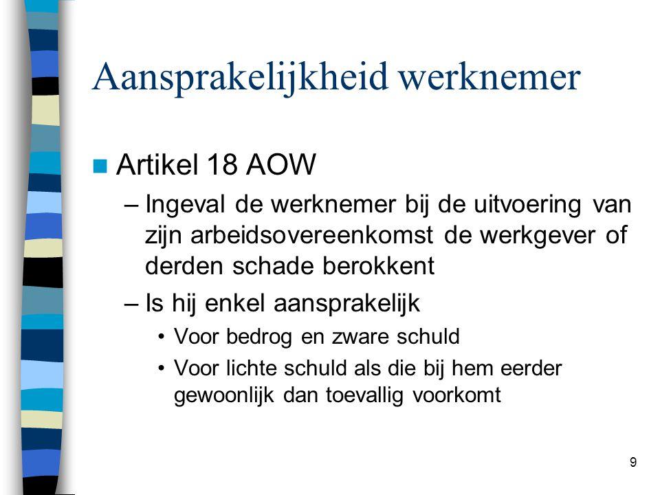 9 Aansprakelijkheid werknemer Artikel 18 AOW –Ingeval de werknemer bij de uitvoering van zijn arbeidsovereenkomst de werkgever of derden schade berokk