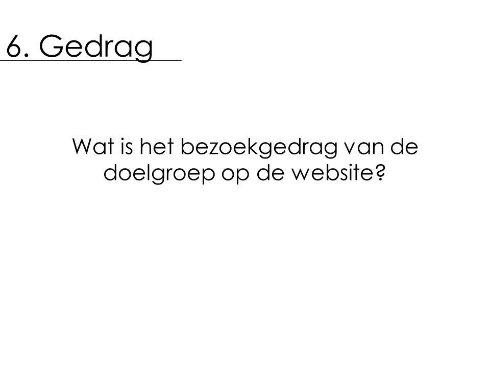 6. Gedrag Wat is het bezoekgedrag van de doelgroep op de website?