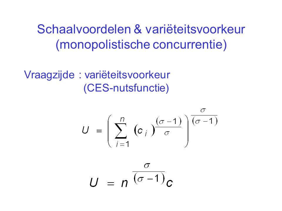 Schaalvoordelen & variëteitsvoorkeur (monopolistische concurrentie) Vraagzijde : variëteitsvoorkeur (CES-nutsfunctie)