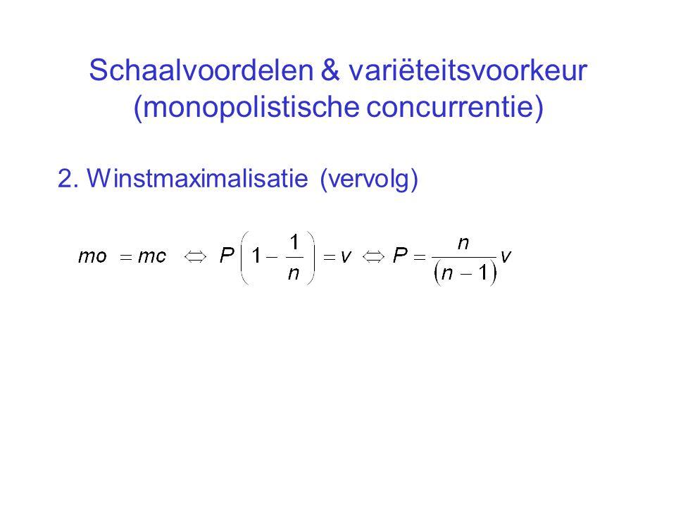 Schaalvoordelen & variëteitsvoorkeur (monopolistische concurrentie) 2. Winstmaximalisatie (vervolg)