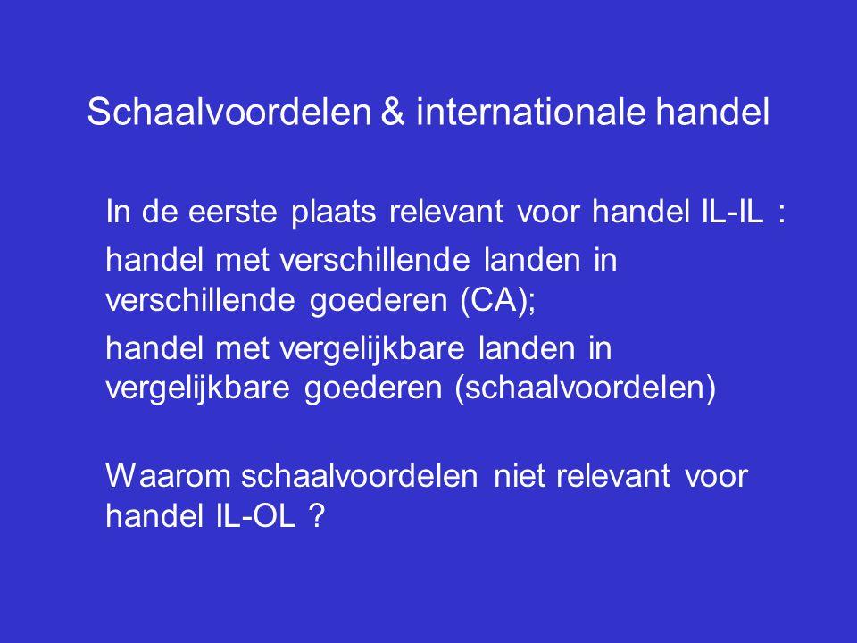 Schaalvoordelen & internationale handel In de eerste plaats relevant voor handel IL-IL : handel met verschillende landen in verschillende goederen (CA