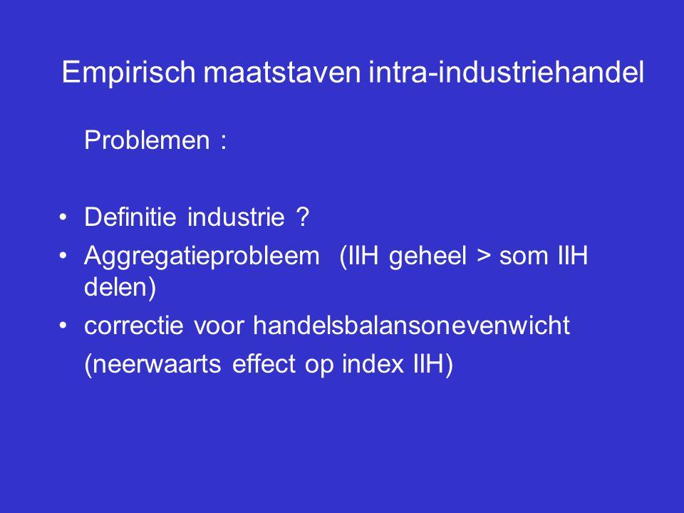 Empirisch maatstaven intra-industriehandel Problemen : Definitie industrie ? Aggregatieprobleem (IIH geheel > som IIH delen) correctie voor handelsbal