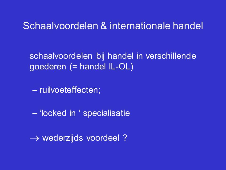 Schaalvoordelen & internationale handel schaalvoordelen bij handel in verschillende goederen (= handel IL-OL) –ruilvoeteffecten; –'locked in ' special