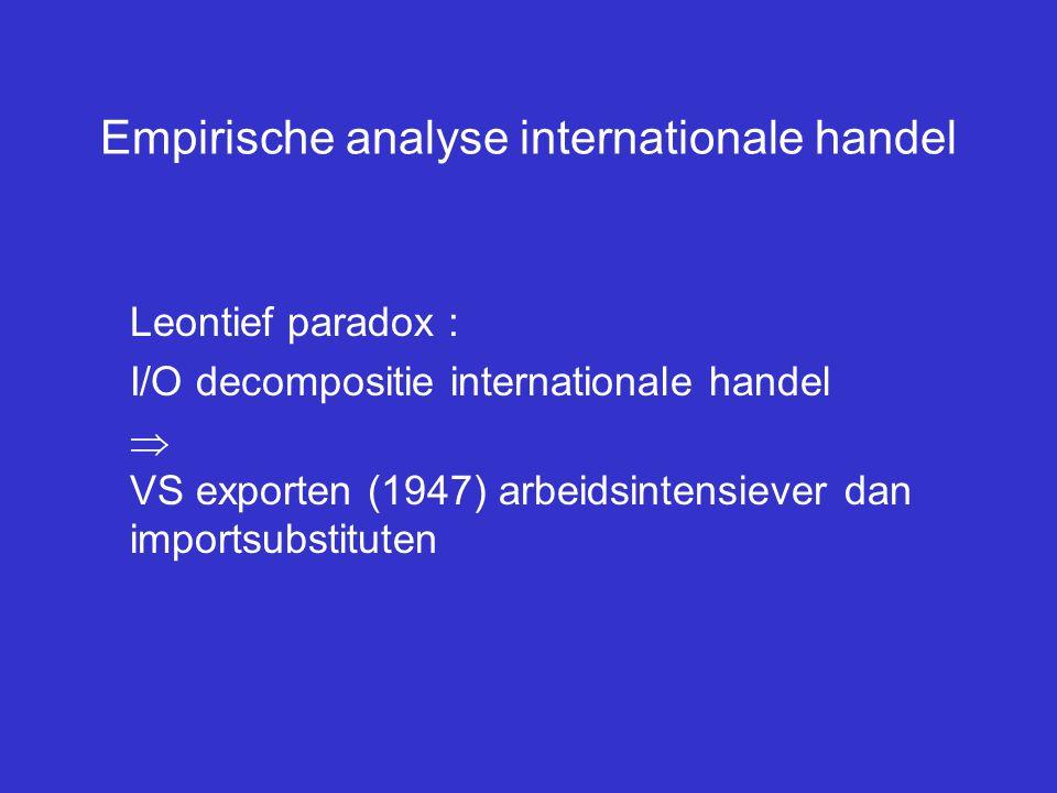 Empirische analyse internationale handel Leontief paradox : I/O decompositie internationale handel  VS exporten (1947) arbeidsintensiever dan imports